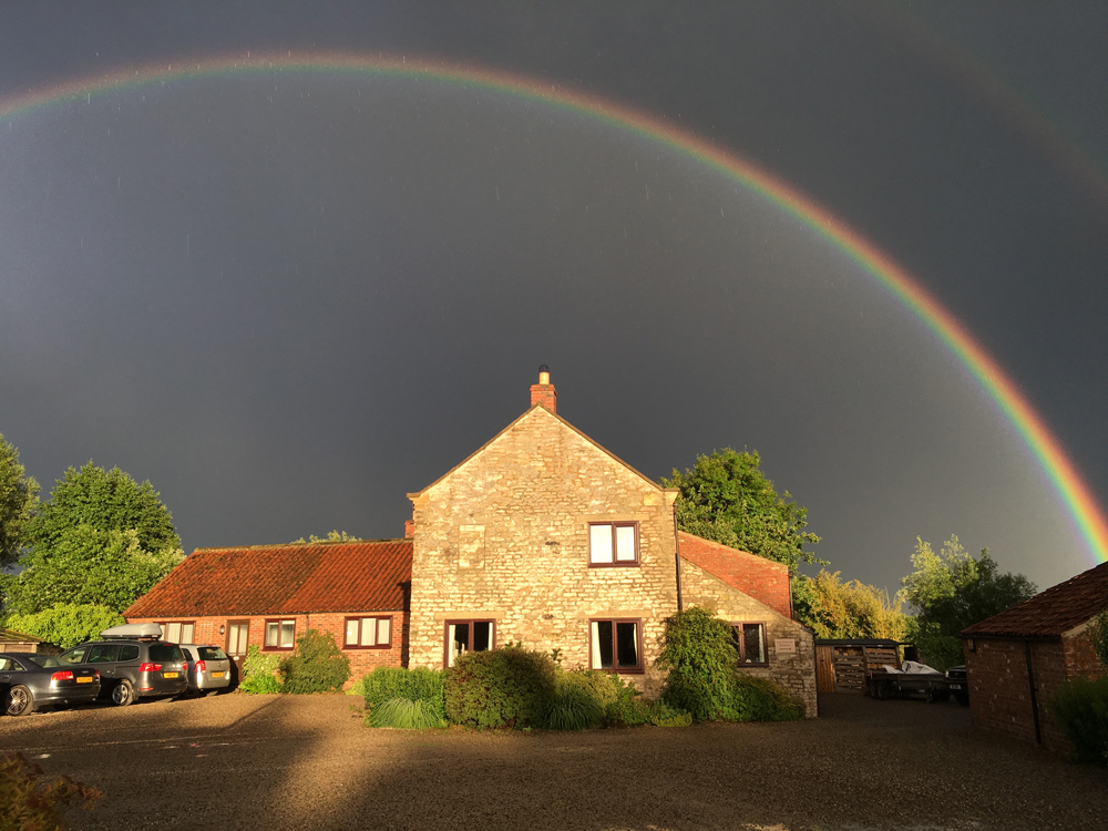 Bright rainbow - it's  beautiful at Low Costa Mill even in a storm