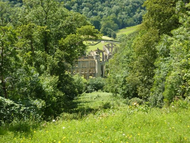 As seen from Rievaulx Terraces, a view of Rievaulx Abbey, in the North York Moors National Park