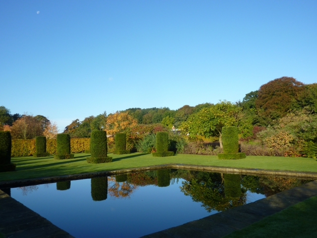 Beautiful gardens on a stunning autumn day at Scampston